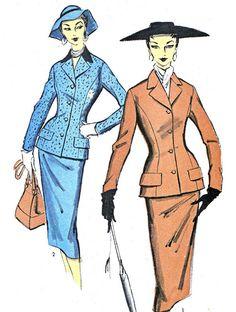 1950s Womens Suit Pattern Advance 6978 Two Piece by paneenjerez, $40.00