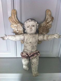 Vintage Hand Carved Wooden Angel...SOLD!
