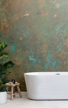 This bathroom wallpaper looks super stylish with a marble pattern effect #bathroom #bathroomdesign #bathroomwallpaper Tiny House Bathroom, Downstairs Bathroom, Bathroom Design Small, Bathroom Interior Design, Modern Bathroom, Master Bathroom, Funky Bathroom, Bathroom Mural, Bathroom Plants