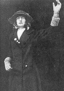 5. She escaped force-feeding on this occasion, and determined, for her next imprisonment, to go in disguise, so as to receive ordinary treatment. Calling herself Jane Warton, she dressed in a disfiguring working woman's outfit, and threw stones into the garden of a prison governor. This time there was nothing preferential about her treatment, and she underwent force-feeding.