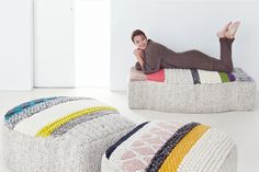 Knit Pouf Chairs from Gan Rugs . Would love to be able to make these.