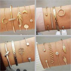 DIEZI 12 Style Gold Silver Feather Moon Charm Bracelet Sets for Women Men Retro Chain Cuff Bracelets Bangles Gift Jewelry Diamond Bracelets, Bangle Bracelets, Bangles, Girls Jewelry, Jewelry Gifts, Fine Jewelry, Jewellery, Body Jewelry, Jewelry Accessories