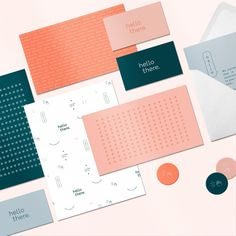 BRANDING & DESIGN The hello there branding is a fun mix of bold type, fun patterns, and playful illustrations Corporate Stationary, Stationary Branding, Stationary Design, Stationery, Cafe Branding, Branding Agency, Print Design, Logo Design, Graphic Design