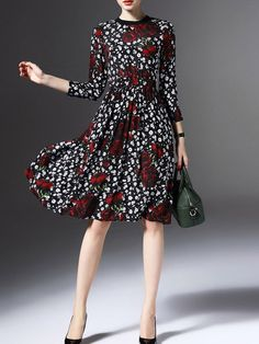 Shop Black Elastic-Waist Rose Print A-Line Dress online. ROMWE offers Black  Elastic-Waist Rose Print A-Line Dress   more to fit your fashionable needs. b5df31b8976d
