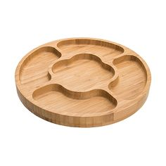 Petisqueira Bambus 5 Divisórias 32cm - Home Style Wood Tray, Wood Bowls, Cnc Wood, Cnc Projects, Wooden Plates, Dish Sets, Wood Creations, Wooden Kitchen, Cutting Board