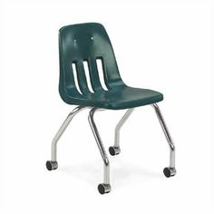 "9000 Series 18"" Plastic Classroom Mobile Chair [Set of 2] Seat Color: Cucumber, Cushioned: No by Virco. $140.80. 9050 /chrome/Cucumber Seat Color: Cucumber, Cushioned: No Features: -Tubular steel chrome legs with steel back support.-One piece injection molded polyethylene shell.-Three ventilation slots in back.-Additive to dispel static charge.-Shell attached to frame with four stress feel nickel plated rivets. Options: -Available with eleven seat colors. Color/Finish: -C..."