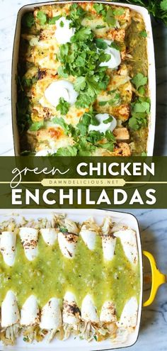 Mexican Dinner Recipes, Healthy Dinner Recipes, Cooking Recipes, Mexican Dinners, Healthy Dinners, Healthy Eats, Delicious Recipes, Green Chicken Enchiladas, Best Enchiladas