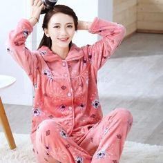 Autumn Winter Long Sleeved Women Flannel Thick Pajamas Coral Fleece Suits Pajama Sets Lovely Pyjamas Women Homewear Plus Size