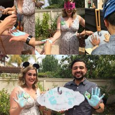 Didn't have to steal this idea! Such a fun gender reveal. Printed on the sides of the board are the lyrics Baby Of Mine from Dumbo . A great surprise for the couple, plus some decoration for the nursery!