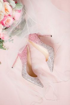 23 Pink Wedding Ideas That Are Trending Right Now - sparkly, pink wedding shoes {Idalia Photography}