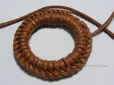 Dorset button:  leather cord