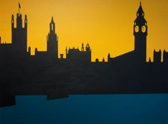 Parliament and Big Ben Silhouette, London Cityscape 36x48 via Etsy