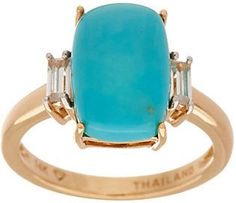 QVC Elongated Cushion Cut Sleeping Beauty Turquoise Ring 14K Gold