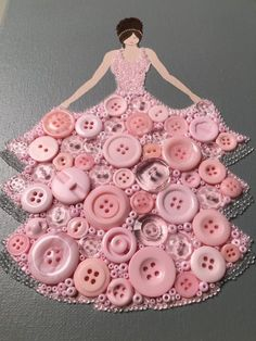 """Diy Crafts - """"Button Princess Pretty and Pink"""" created by Esther Hall at LoveMyWalls on Etsy Creative Crafts, Diy And Crafts, Craft Projects, Crafts For Kids, Arts And Crafts, Creative Artwork, Rock Crafts, Fall Crafts, Button Art"""