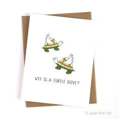 Funny Christmas Card Turtle Dove by JulieAnnArt on Etsy                                                                                                                                                                                 More