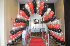 Amazing archway of balloons over red carpet - great entrance!!