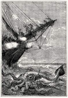 Captain Bouguer attacked the poulp with harpoons and guns. From Vingt mille lieues sous les mers (Twenty thousand leagues under the seas), by Jules Verne, illustrated by Édouard Riou and Alphonse de Neuville, Paris, Jules Verne, Max Ernst, Julien Gracq, Release The Kraken, Steampunk, Science Fiction, Octopus Art, Octopus Squid, Pond Life