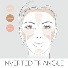 Here's how to apply your blush, bronzer & highlighter if you have an inverted triangle face shape.