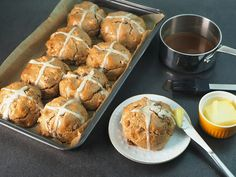 Healthy paleo Hot Cross Buns that look like the real deal. No gluten/grains or nasty additives in these Easter buns. Easter Bun, Arrowroot Flour, Almond Recipes, Paleo Recipes, Organic Butter, Hot Cross Buns, Gluten Free Baking, Tray Bakes, A Food