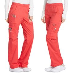 There are lots of pockets in these pull-on, cargo scrub pants. This straight leg scrub pant from Core Stretch by Cherokee Workwear features a soft elastic waistband and front patch pockets. The rig. Cherokee Scrub Pants, Cherokee Scrubs, Cherokee Workwear Scrubs, Leg Scrub, Stylish Scrubs, Cute Scrubs, Scrubs Uniform, Medical Uniforms, Womens Scrubs