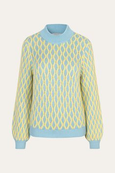 Carlo Cable Knit in Blue & Yellow from Stine Goya. A relaxed sweater with a yellow all-over cable knit pattern on a light blue base. Navy Blue Color, Blue Yellow, Wool Cardigan, Knitting Designs, Off Duty, Knit Patterns, 1 Piece, Cable Knit, Knitwear