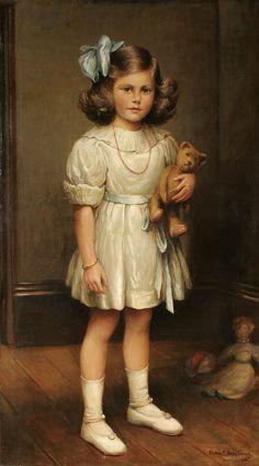 Girl with Teddy Bear by Frank Ernest Beresford (1881 – 1967, English)