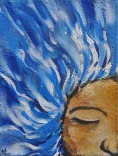 """Quadro """"Águas"""", da série """"Encantaria"""". <br>Representa orixá Yemanjá. <br> <br>Olodummaré-Olofim fez do nascimento de Yemanjá o início. As águas debateram-se com rochas que nasciam e abriam no chão profundas e grandes cavidades. A água encheu as fendas ocas fazendo os mares e oceanos. Do que sobrou da inundação se fez a terra. Ali se tornou o reino de Yemanjá, a grande mãe de todos os Orixás."""
