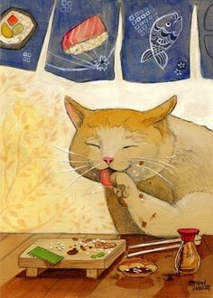Sushi CAT  All done Archival Print 8x10
