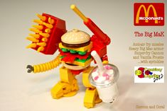Built by Sean and Steph Mayo for BrickLink's Creations for Charity, this LEGO Big MaK Mech comes equiped with anti-air fry missiles, heavy Big Mac armor, sniper-fry cannon and vanilla frostie … with sprinkles! [Sean and Steph Mayo Lego Mecha, Robot Lego, Lego Creationary, Lego Minecraft, Minecraft Skins, Minecraft Buildings, Lego Design, Lego Mcdonalds, Lego Food