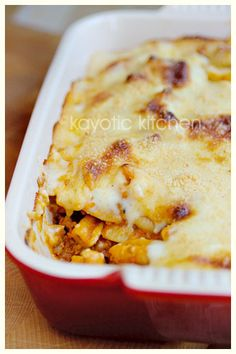 Divine Pasta Casserole...ground meat, pasta, a delightful roasted veggie sauce all covered with mornay sauce and baked...