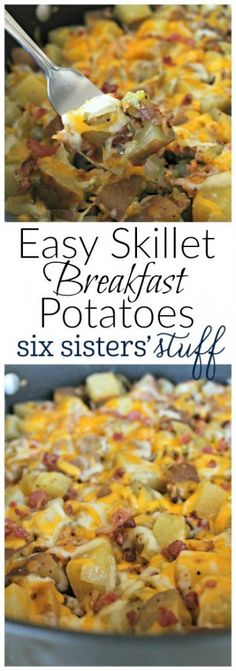Easy Skillet Breakfast Potatoes from SixSistersStuff.com | Need a quick new breakfast this week? These Skillet Breakfast Potatoes are fast, easy, and they only take one pan! Try them served with warm tortillas for something new.