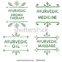 AYURVEDIC AROMATHERAPY, MEDICINE, OIL, MASSAGE. Set of typographyc VECTOR elements, hand drawn letters. Green lines on white background  - stock vector