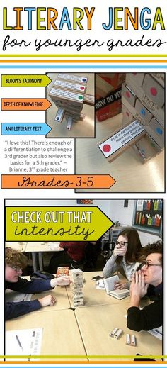 Literary Jenga: Reading Literature Activity for Grades - Language Arts - Education Reading Comprehension Games, Reading Strategies, Reading Activities, Reading Skills, Teaching Reading, Teaching Time, Guided Reading, Teaching Ideas, Comprehension Strategies