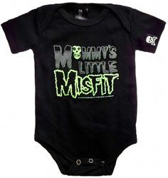 Kiditude Misfits Mommy's Little Misfit Baby Onesie, Black (3-6 Months), Iconic Misfits baby onesie for little punk rockers in training. Reads, Mommy's Little Misfit and features the Misfits skull logo., #Apparel, #Bodysuits
