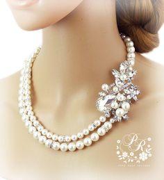 Wedding Necklace Swarovski Pearl & Rhinestone bead Bridal Necklace Wedding Jewelry Wedding accessory