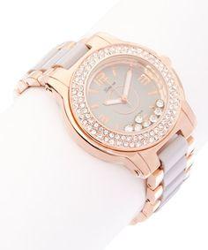 Look at this #zulilyfind! Rose Gold & Gray Floating Stone Bracelet Watch #zulilyfinds