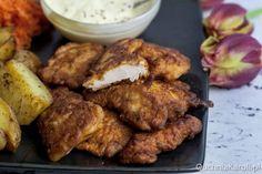 Kurczak w chrupkim cieście naleśnikowym.
