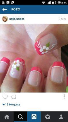 Pink Nail Art, Toe Nail Art, Toe Nails, Acrylic Nails, French Manicure Nails, French Tip Nails, Manicure And Pedicure, Fingernail Designs, Nail Art Designs