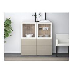 BESTÅ Storage combination w/glass doors - walnut effect light gray/Selsviken high gloss/beige clear glass, drawer runner, soft-closing - IKEA