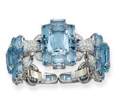 Rare and Superb Art Deco Aquamarine and Diamond Bracelet, Cartier
