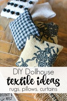 DIY Textile Additions: Dollhouse One Room Makeover, Week 3 - Salvaged Living - - Cute dollhouse rugs, simple dollhouse pillow ideas & cute DIY dollhouse curtains! Farmhouse style dollhouse accessories are easy and fun to make yourself!