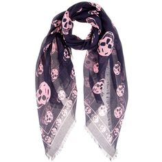 Alexander McQueen Skull-Printed Scarf (85.180 HUF) ❤ liked on Polyvore featuring accessories, scarves, black, alexander mcqueen shawl, alexander mcqueen scarves, skull shawl, alexander mcqueen and skull scarves