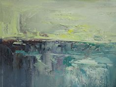 Calming teals and grays on the horizon, original oil paintings from Art Outlet