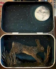 This Altoid tin was converted into a mini diorama. With a night sky and grass, clay and natural fibres used to make the realistic miniature hare which is permanently attached to the tin. The tin dimensions are x deep. Shadow Box Kunst, Shadow Box Art, Matchbox Crafts, Matchbox Art, Altered Tins, Altered Art, Tin Art, Assemblage Art, Tin Boxes