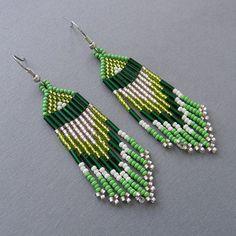 Green Native American Style Long Seed Bead Earrings - beaded earrings, tribal jewelry, boho