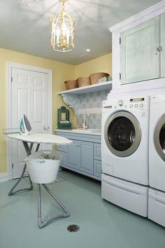 I LOVE Sarah Richardson! Sarah Richardson designed laundry room with rubber floors Yellow Laundry Rooms, Laundry Room Colors, Laundry Room Design, Sarah Richardson, Sarah 101, Basement Laundry, Laundry Nook, Laundry Tips, Laundry Basket