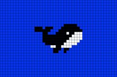 Miniature whale pattern / chart for cross stitch, crochet, knitting, knotting, beading, weaving, pixel art, micro macrame, and other crafting projects.