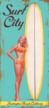 Surf City Vintage Beach, Huntington Beach California Wooden Sign
