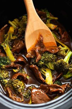 Broccoli Beef & add water chestnuts! Turned my favorite take out meal to a crockpot fav!