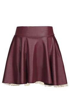 Burgundy Leather Skater Skirt with Lace Hem
